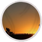 North Beach Sunset Round Beach Towel by Thomas OGrady