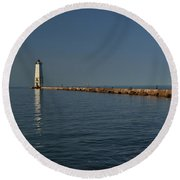 North Breakwater Lighthouse Round Beach Towel