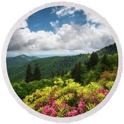 North Carolina Appalachian Mountains Spring Flowers Scenic Landscape Round Beach Towel