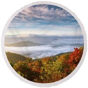 North Carolina Autumn Sunrise Blue Ridge Parkway Fall Foliage Nc Mountains Round Beach Towel