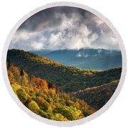 North Carolina Mountains Asheville Nc Autumn Sunrise Round Beach Towel