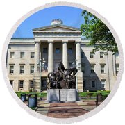 North Carolina State Capitol Building With Statue Round Beach Towel