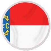 North Carolina State Flag Round Beach Towel