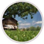 Round Beach Towel featuring the photograph North Carolina Tobacco by Benanne Stiens