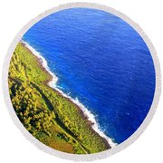 Round Beach Towel featuring the photograph North Coast Of Tinian At Sunrise by MB Dallocchio