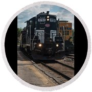 Round Beach Towel featuring the photograph Conway Scenic Railroad - New Hampshire by Suzanne Gaff