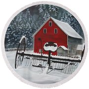 North Country Winter Round Beach Towel