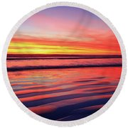 Round Beach Towel featuring the photograph North County Sand Ripples by John F Tsumas