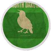 North Dakota State Facts Minimalist Movie Poster Art Round Beach Towel