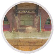 North Easton Train Station At Solstice Round Beach Towel