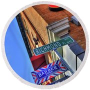 Round Beach Towel featuring the photograph North End Boston Signs - Bacco by Joann Vitali