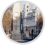 North Facade Of Cenotaph War Memorial Whitehall London Round Beach Towel