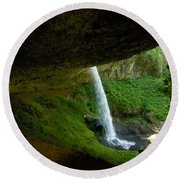 Round Beach Towel featuring the photograph North Falls by Sean Griffin