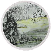 Round Beach Towel featuring the painting North Forty by Jack G Brauer