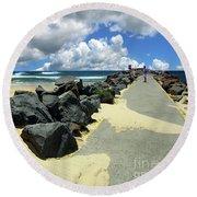 North Haven Breakwater Walkway By Kaye Menner Round Beach Towel