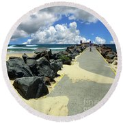 North Haven Breakwater Walkway By Kaye Menner Round Beach Towel