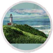 North Head Lighthouse And Beyond Round Beach Towel