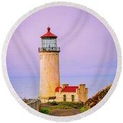 North Head Lighthouse Round Beach Towel
