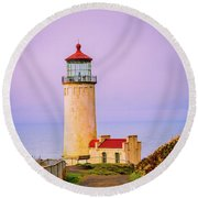Round Beach Towel featuring the photograph North Head Lighthouse by Bryan Carter