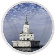 North Manitou Shoal Light Round Beach Towel