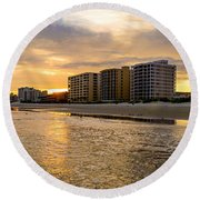 North Myrtle Beach Sunset Round Beach Towel