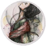 Beautiful Lady Round Beach Towel