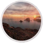 North Puget Sound Sunset Round Beach Towel