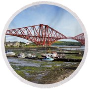 Round Beach Towel featuring the photograph North Queensferry by Jeremy Lavender Photography