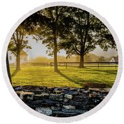 North Road Fog Round Beach Towel