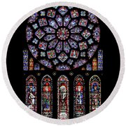 North Rose Window Of Chartres Cathedral Round Beach Towel