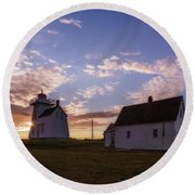 Round Beach Towel featuring the photograph North Rustico Lighthouse At Sunrise by Chris Bordeleau