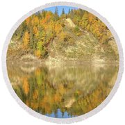 North Saskatchewan River Reflections Round Beach Towel