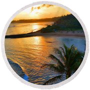 North Shore Of Oahu  Round Beach Towel by Michael Rucker