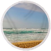 North Shore Waves In The Late Afternoon Sun Round Beach Towel