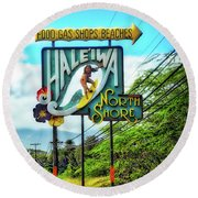 North Shore's Hale'iwa Sign Round Beach Towel by Jim Albritton