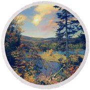 Round Beach Towel featuring the photograph North South Lake by John Rivera