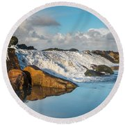 North Spit Wave Spillover Round Beach Towel by Greg Nyquist
