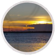 North Wildwood Sunset Round Beach Towel