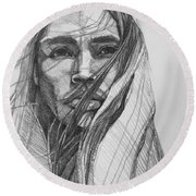 Round Beach Towel featuring the drawing North Wind  by Jani Freimann