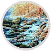 North Woods Song Round Beach Towel