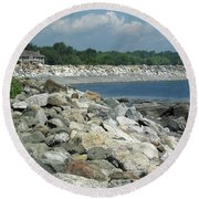Northeast Us, Atlantic Coast, Rye Nh Round Beach Towel by Betty Denise