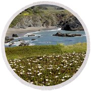 Northern California Coast Scene Round Beach Towel by Mick Anderson