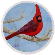 Northern Cardinal 2 Round Beach Towel