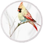 Northern Cardinal,female Round Beach Towel by Suren Nersisyan