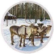 Northern Deers Round Beach Towel