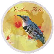 Round Beach Towel featuring the photograph Northern Flicker Watercolor Photo by Heidi Hermes