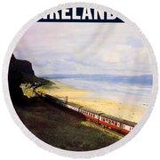 Northern Ireland Coast, Railway, Train, Travel Poster Round Beach Towel