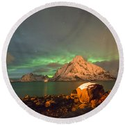 Spectacular Night In Lofoten 3 Round Beach Towel