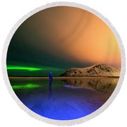 Northern Light In Lofoten, Nordland 4 Round Beach Towel