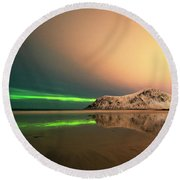 Northern Light In Lofoten Nordland 5 Round Beach Towel